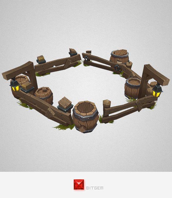 Low Poly Barrel n Fence Set