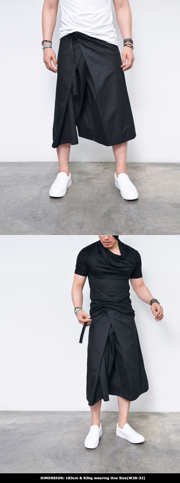 Super Stylish Wrap Skirt Pants-Pants 224 - GUYLOOK