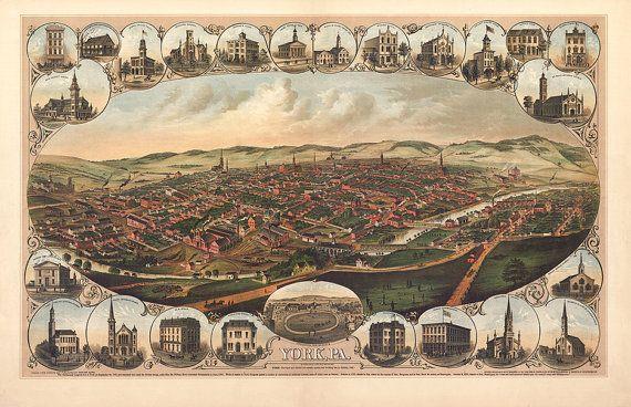 York, White Rose City, Pennsylvania PA 1879 from Kern, A. Hoen & Co.   Reproduction Vintage Bird's Eye View Map Print PA0054