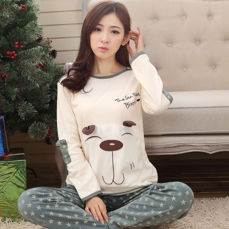 Tinyear New 2017 women lovely night suits 100% cotton M-2XL ladies cartoon pajamas casual long-sleeved autumn pyjamas