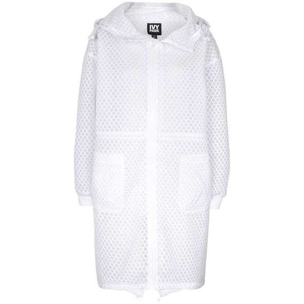 Hexagon Mesh Parka by Ivy Park ($120) ❤ liked on Polyvore featuring outerwear, coats, parka coat, white parka and white coat