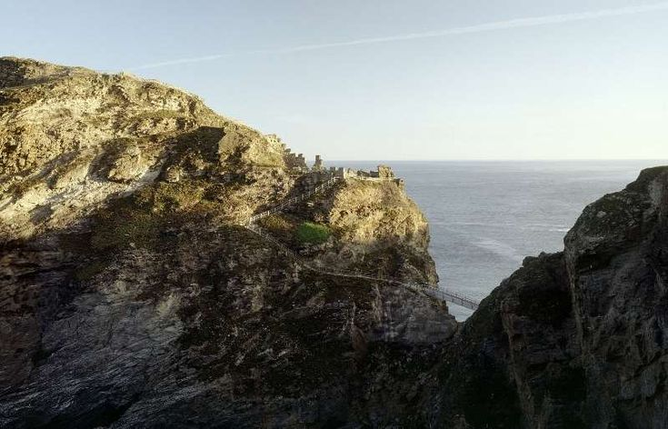 View towards the sea and the foot bridge at Tintagel castle