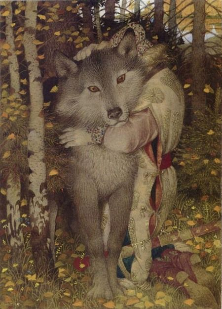 Gennady Spirin - The Firebird  The Wolf-Hug.  Lovers, take note.