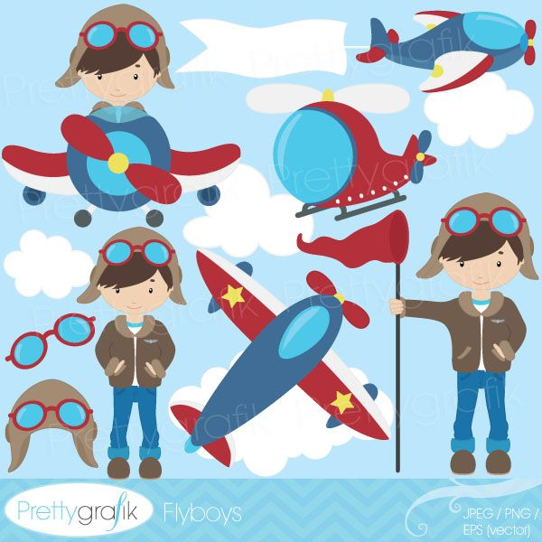 Flyboys - clipart for birthday invites, crafts, scrapbooking, card making and more.