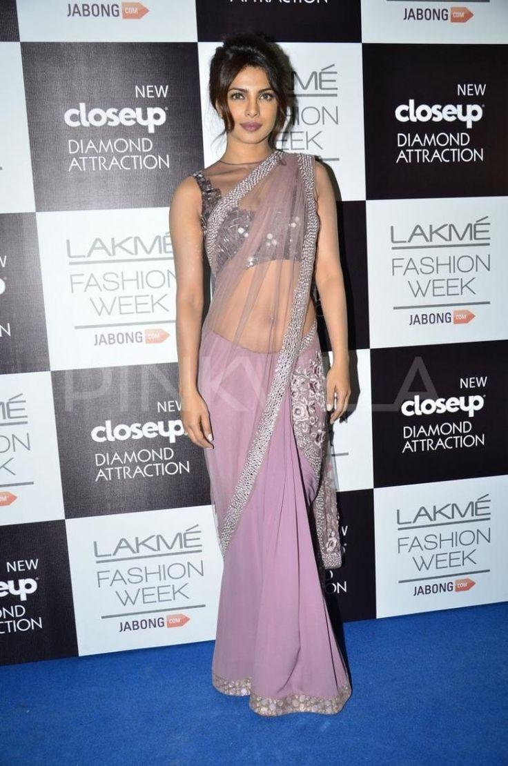 #LFW2014 @PriyankaChopra is gorgeous, sensuous in http://www.ManishMalhotra.in/landing/ #Saree & Choli in shades of Mauve