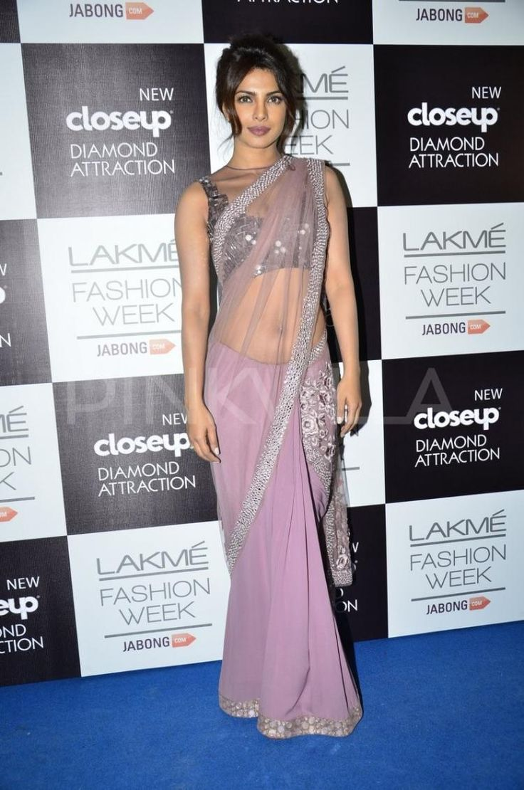 #LFW2014 @PriyankaChopra is gorgeous, sensuous in http://www.ManishMalhotra.in/landing/ #Saree & Choli in shades of Mauve