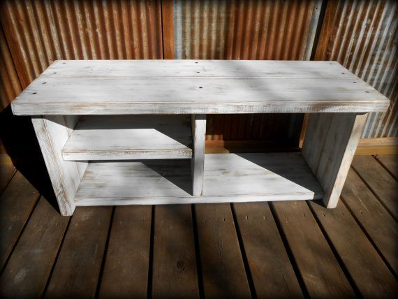 42 White Shoe Rack Bench with Boot Cubby by TheHenryHouse on Etsy, $200.00