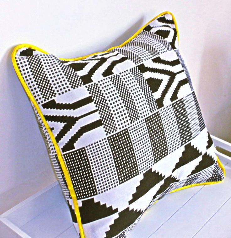 arican wax print kente white black yellow throw pillow