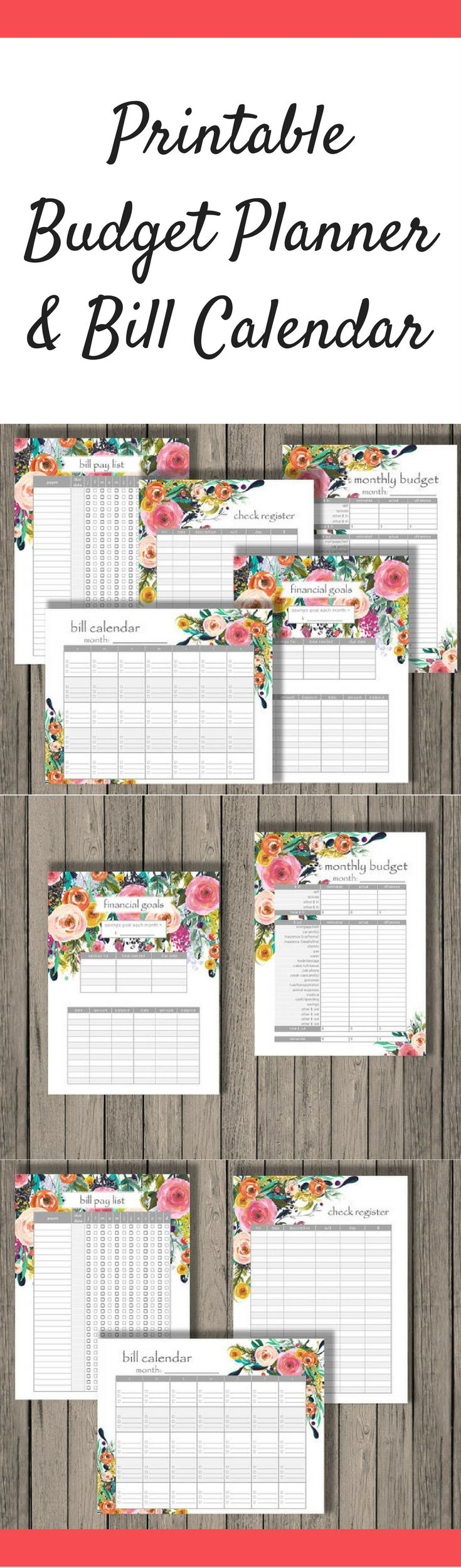 Printable Budgeting Planner and Bill Pay Calendar to track your finance and help you manage your money better. #ad #budget #budgeting #planner #planning #planneraddict #plannerlove #plannercommunity #printable