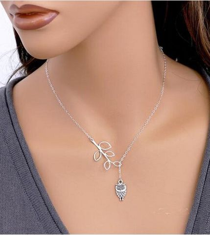 Silver Plated Hollow Leaf Owl Pendant Necklace.$6.95 + Free Shipping.