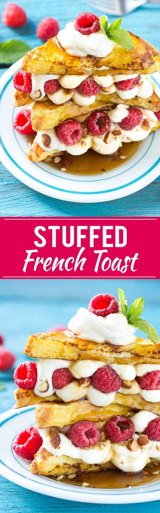 This recipe for cream cheese stuffed french toast is buttery brioche bread dipped in batter and cooked to a golden brown, then sandwiched with a delectable cream cheese, raspberry and almond filling. Finish this brunch delight with a drizzle of syrup and whipped cream for an unforgettable mid-day delight! #ad
