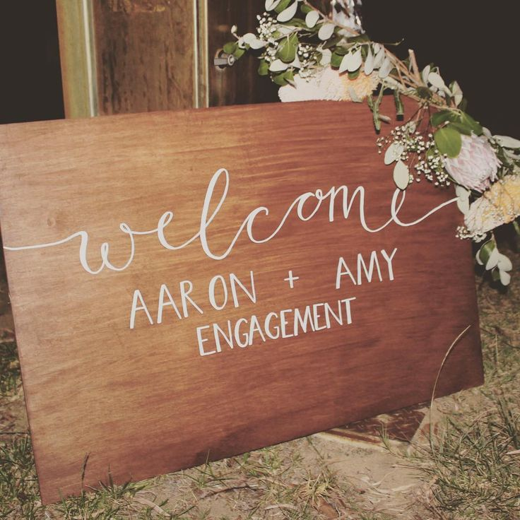 Welcome sign for Aaron and Amy's engagement by Little Vintage Hire Co.