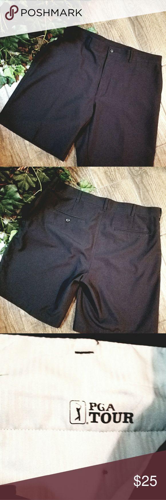 "PGA Golf Shorts 38 PGA Golf Shorts. 100%Polyester. Side pockets and 1 back pocket. 10"" inseam 21"" outseam  1"" hem Gently worn PGA GOLF Shorts Athletic"