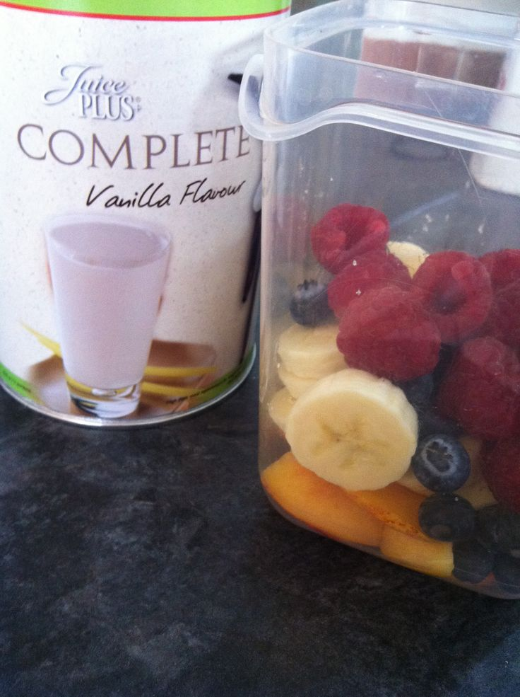 Juice plus berry and banana shake .... 1 scoop of complete vanilla, 1 banana, 1 nectarine (optional), 1 handful of blueberries, 1 handful of raspberries and a dash of water to smooth the consistency.   I like to add the powder from my juiceplus capsules for extra an nutrient booster!