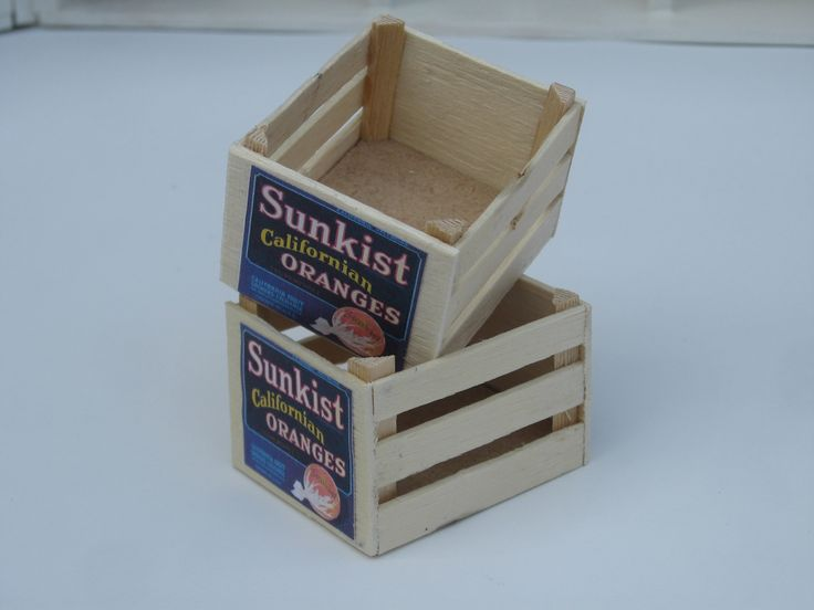 Two Sunkist orange crates scale 1:10; made of thin wood with printed labels