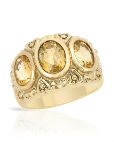 Ring with Genuine Citrines - Size 7   Charming ring with genuine citrines well made in 14K gold plated 925 silver. Total item weight 6.5g. Gemstone info: 3 citrines, 4.00ctw, oval shape and yellow color