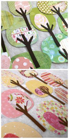 Basteln mit Papier. Schöne bunte Bäume aus unterschiedlichem Papier. Bastelidee für Frühling, Sommer, Herbst.