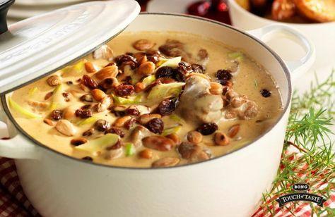 Russin, ingefära och purjolök i en krämig gryta. Servera tillsammans med kokt potatis och pressgurka.