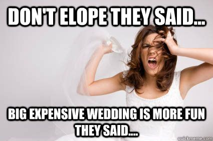 Don't elope they said... Big expensive wedding is more fun they said....  wedding stress