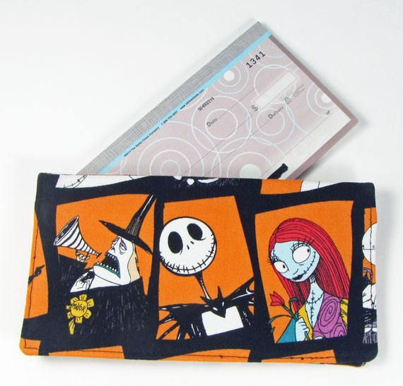 Nightmare Before Christmas fabric checkbook cover,check book cover, men's checkbook wallet,woman's checkbook cover, handmade by fabricfundesigns on Etsy