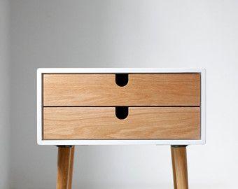 Table / blanc table de chevet style mi-siècle rétro par Habitables