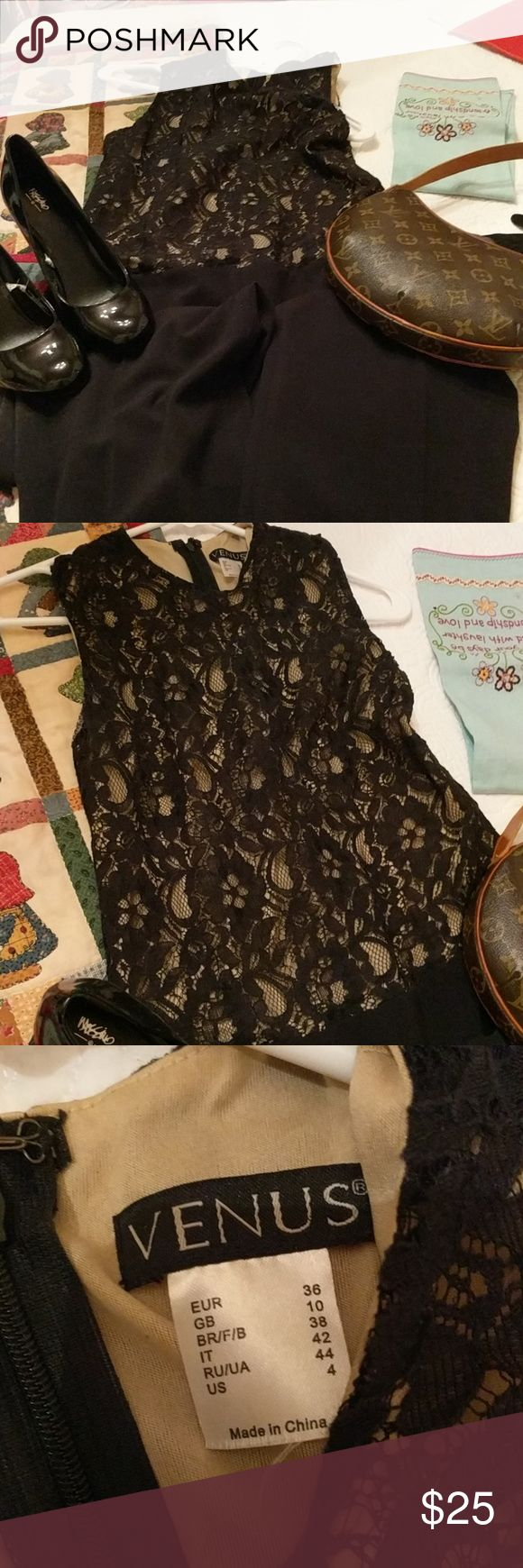 Size 4 Venus Black lace jumpsuit Venus Black lace jumpsuit with cream underlay. It will fit someone 5'2 and under. There is hem you can let out if your taller. Venus Other