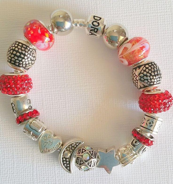 Charm Bracelet - 925 Sterling Silver, Rhinestones, Murano Glass in Jewellery & Watches, Fashion Jewellery, Charm Bracelets   eBay