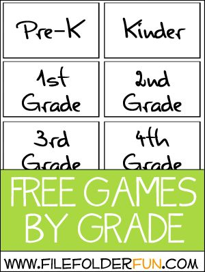Free File Folder Games   ages Preschool thru 5th grade, sort by age or by subject