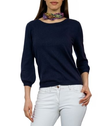 Wool Overs Womens Blouse Sleeved Jumper Navy