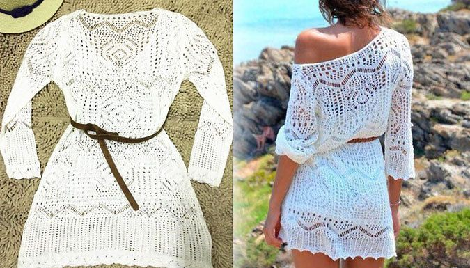 Buy: Long-Sleeved Crochet Summer Tunic Dress for just: £9.99 Get crochet cute with thisLong-Sleeved Crochet Summer Tunic Dress      Available in sizes S (UK 6-8), M (8-10), L (10-12) and XL (12-14)      Includes 1 xLong-Sleeved Crochet Summer Tunic Dress and 1 x brown belt      V-neck flattering shape      Cinch your waist with the belted design to achieve a classic hourglass figure     ...