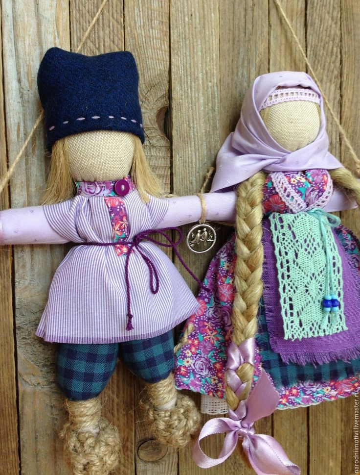 Купить Народная кукла Неразлучники (сиреневый, синий, бирюзовый) - сиреневый…