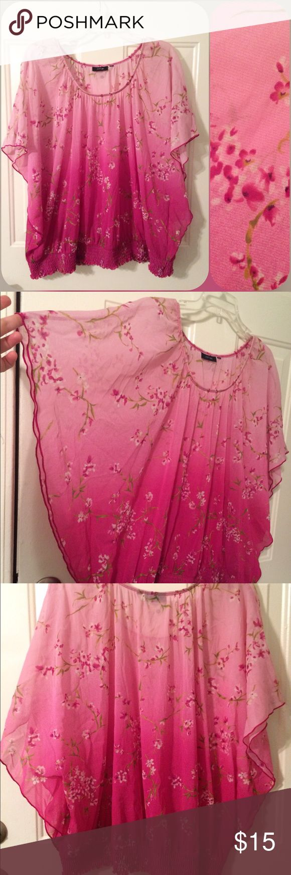 Size 3x EUC sheer pink cherry blossom blouse Apt 9 brand. Size tag has been cut out. Size 3x. Very open cut with elastic hemline. Batwing sleeves. Sheer ombré pink with cherry blossom pattern. No snags or stains. Make me an offer! I ship next day! 20% off all bundles! Apt. 9 Tops Blouses
