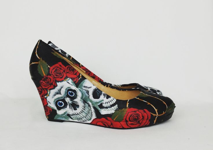 Skull shoes, skull and roses wedge shoes,custom shoes, wedge shoes, gothic shoes, black and red shoes, goth, punk, boho, alternative shoes by RockYourSole on Etsy