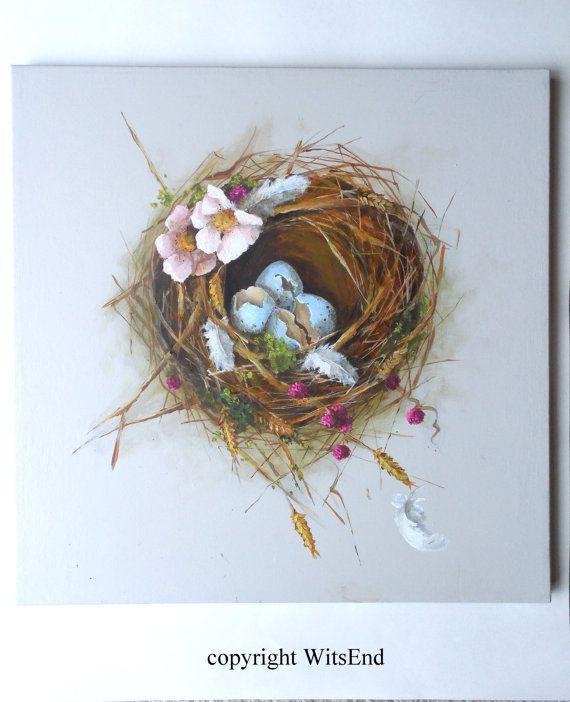 "'THE SEASONAL NEST - SUMMER'S END"". Bird Nest painting original ooak still life art eggs by 4WitsEnd, via Etsy"