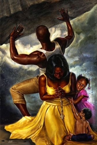 "Behind Every Great Man by Kevin ""WAK"" Williams -- As a MAN fights off the burdens/pressures of life to protect his family, his woman who is anchored in her FAITH supports him in prayer and is not facing him as not to judge him as he strains to push through. The young girl knows that her parents are united and she is at PEACE; the baby knows the answer points towards the heavens because it's GOD that has the answer!"