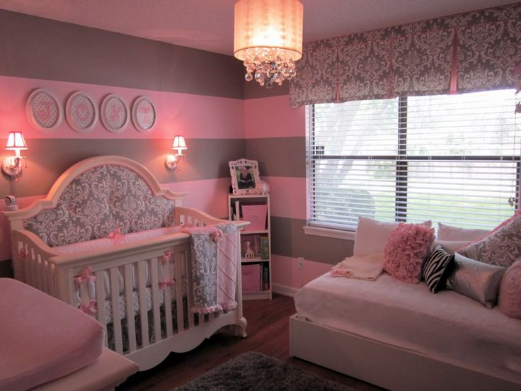 This is pretty much everything I want in her nursery! But maybe chevron walls instead of stripes.