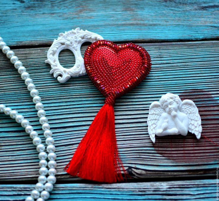 """Купить Брошь """"Валентинка"""" - ярко-красный, валентинка, валентинка сердце, святой валентин, сердечко"""
