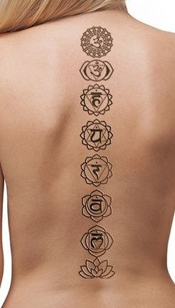 Chakras yoga meditation black spine back neck  tattoos tattoo tat tats idea ideas inspiration ink small