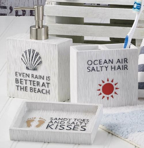 Beach Bath Accessories With Quotes And Sayings: Http://www.completely  · Coastal  BathroomsBeach ...