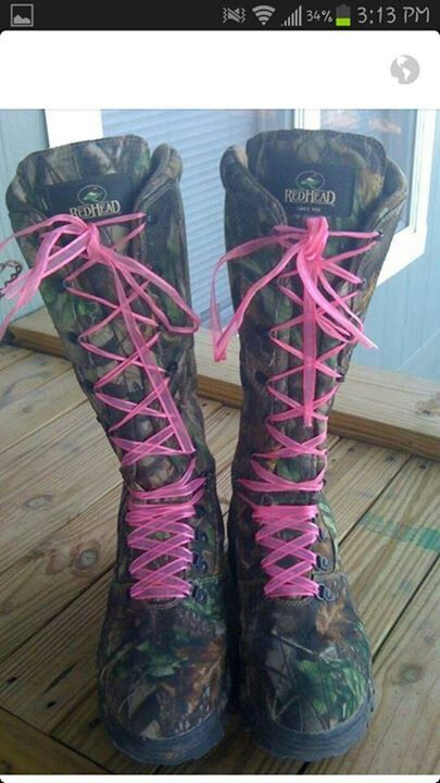 Camo Redhead Hunting Boots With Pink Laces I Want These
