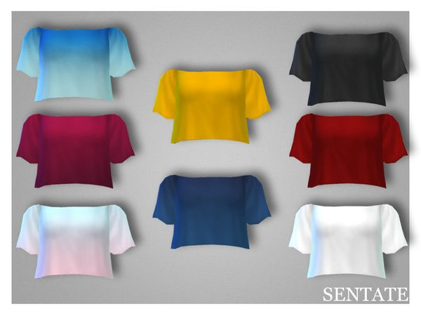 sssvitlans:  Created By SentateDaphne Crop TopCreated for: The Sims 4A flowy crop top with bardot neckline to reveal the shoulders, perfect for summer! Comes in 4 solid colors and 4 Ombre styles.http://www.thesimsresource.com/downloads/1292953