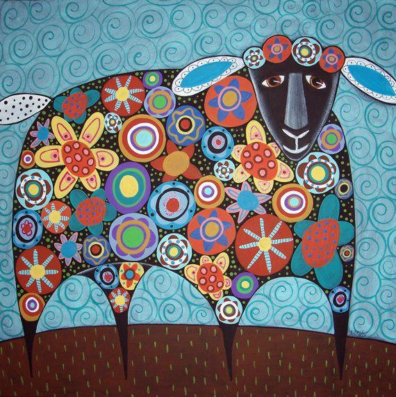 Blooming Sheep Folk Art Karla Gerard Canvas by KarlaGerardFolkArt