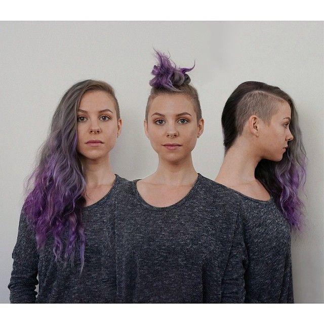 Side shave undershave haircut long Mohawk purple ombré hair bun