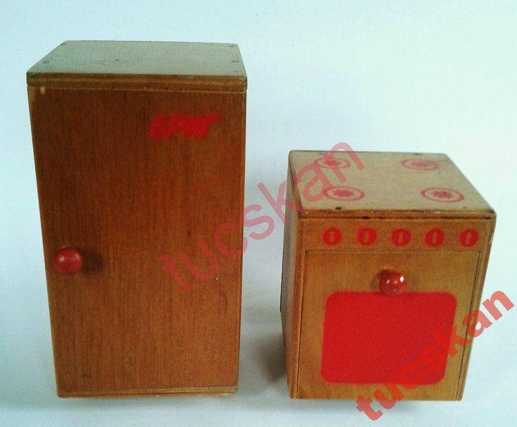 Деревянные плита и холодильник. Игрушки СССР - http://samoe-vazhnoe.blogspot.ru/ #игрушки_кухня