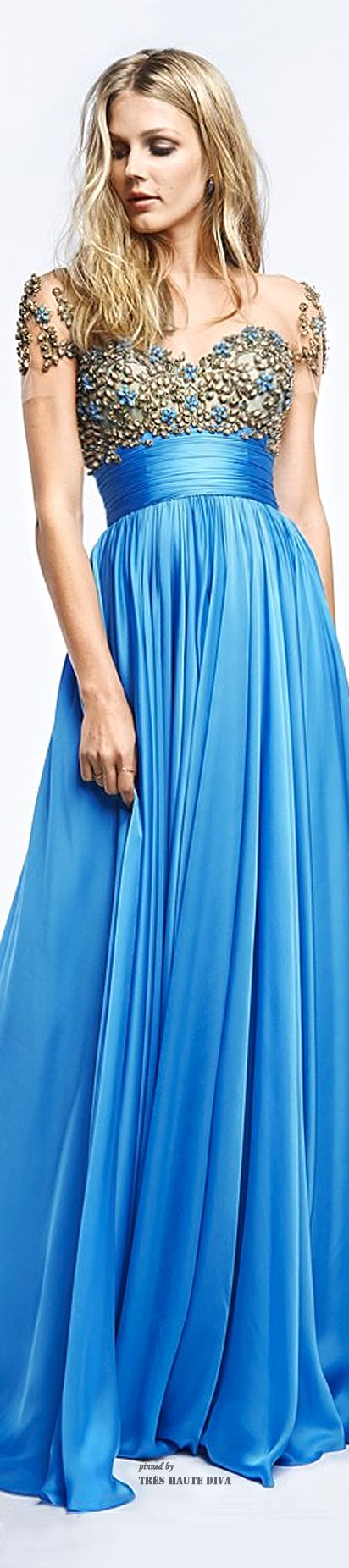 Reem Acra Resort 2015 - robin's-egg blue + beading = beautiful.