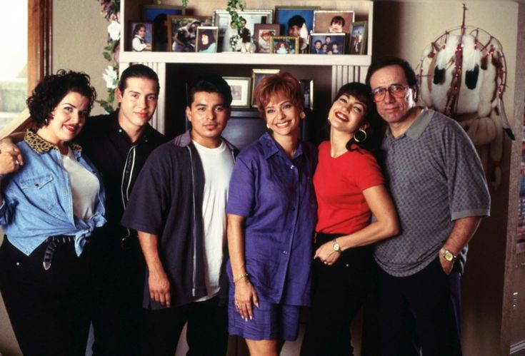 The cast of the movie 'Selena': Jackie Guerra, Jon Seda, Jacob Vargas, Constance Marie, Jennifer Lopez and Edward James Olmos