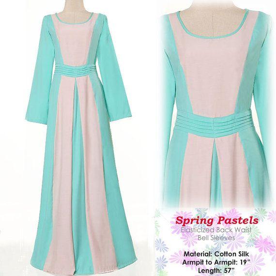 Pastel 2 Tones Cotton Abaya Muslim Islamic S/M by MissMode21, $28.00 FREE SHIPPING WORLDWIDE!!