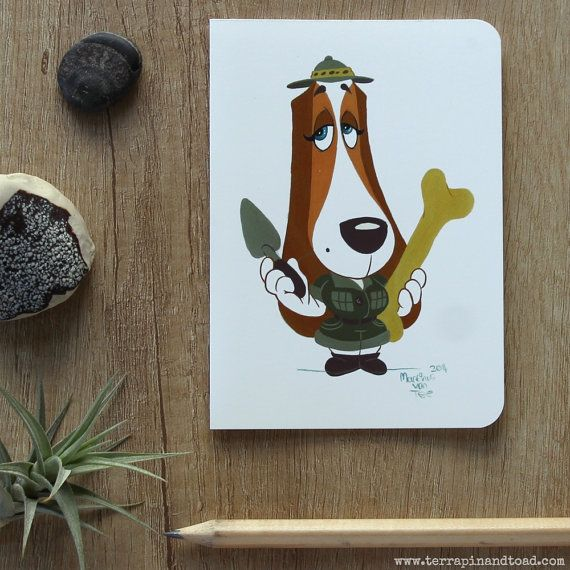 Basset hound palaeontologist greeting card by #TerrapinAndToad.  A fun, brightly coloured cartoon basset hound greeting card. Perfect for your favourite explorer or dog lover.
