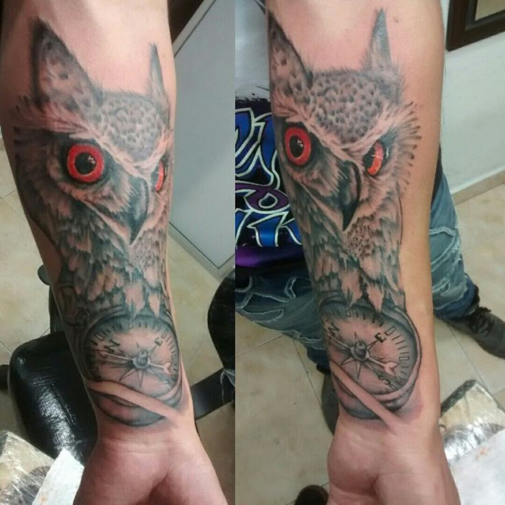 owl Tattoo and compass  by Dago Lozada