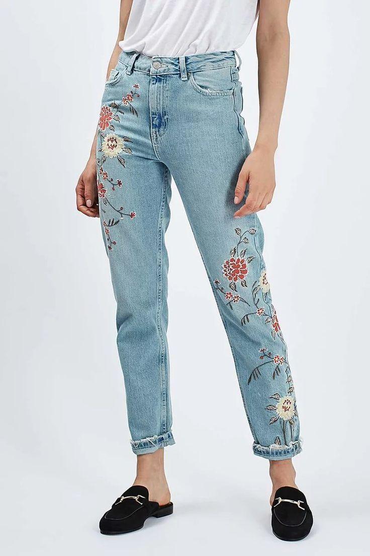 Vintage Floral Embroidery Boyfriend Jeans